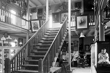 Interior of the Fair Street Museum shows collections of the NHA, ca 1907.