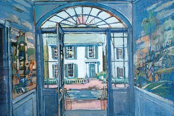 Orange Street Doorway, oil painting by Sybil Goldsmith.